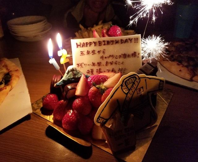 ケーキ用の花火に大興奮!