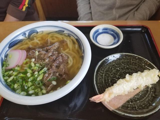 肉うどん+エビ天トッピング